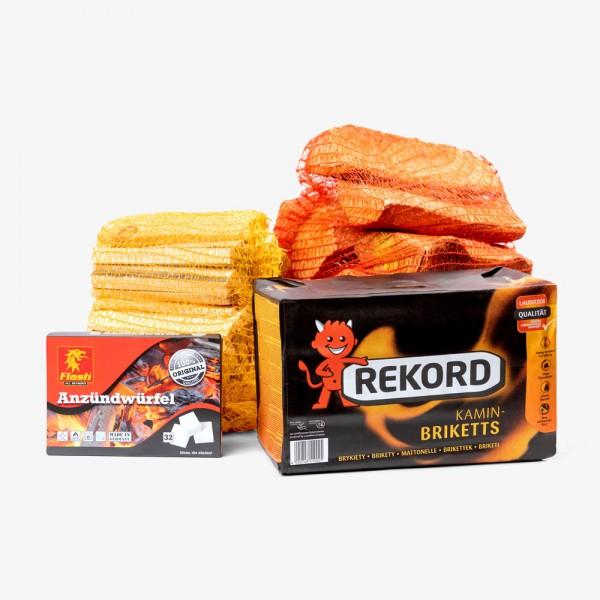 """Rundum Sorglos"" Briketts & Holz im Kombipaket"